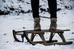Wyjście na sanki zimą